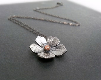 Flower Necklace in Oxidized Silver with Copper Accent