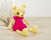 Teddy bear in a dress - Crocheted amigurumi bear - Merino wool