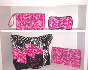 Personalized Diaper Bag In Black & White Damask With Pink Damask Bow Sash.  Add On The Matching Accessories.  Diaper Clutch, Changing Pad