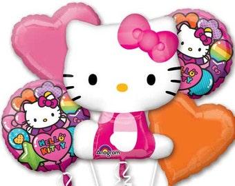 Hello Kitty 5 Piece Balloon Bouquet BIrthday Party |  Foil Balloon | Hello Kitty Birthday Party Balloons