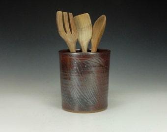 Spoon/ Utensil pottery jar.  Doubles as wine chiller.  Tenmoku.  Ready to ship.