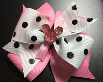 Black and white polka dot stacked mouse Hair Bow