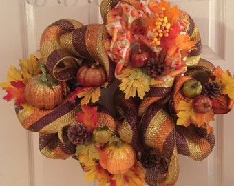 Fall Thanksgiving Autumn pumpkin Wreath
