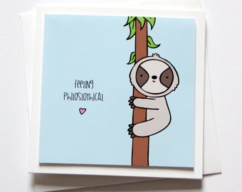 sloth greeting card  etsy, Birthday card