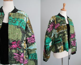 Vtg 90s FuNKy InDia CoTToN Puffy Bomber Jacket \\ MeDiuM //  DoPe with SeQuiNs