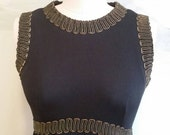 Vintage 60s Maxi Dress Leslie Fay Black and Gold Goddess