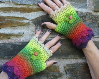 Fingerless gloves. Crochet gloves. Wrist warmers. Eyecatching and pretty.  Crocheted and beaded. Own design. OOAK. Unique.Lovely gift.