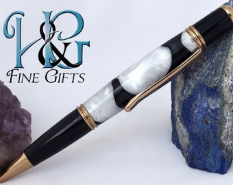 Black and white handcrafted pen swirling colors in gold setting, shimmering dalmatian twist pen, executive gift office pen, fine writing