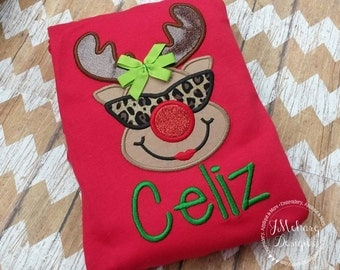 Adorable Cool Girly Reindeer with sunglasses applique - Christmas Custom Tee Shirt - Customizable