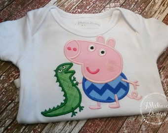 Peppa George Birthday Custom Tee Shirt - Customizable -  Infant to Youth 250