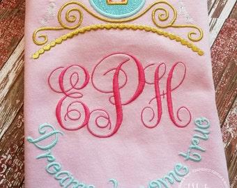 Cinderella Princess Inspired Monogram Tiara with Phrase - Princess Movie - Custom Tee 2028