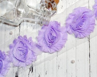 "1 Yard Chiffon Shabby Rose Trim Lavender 2.5"""