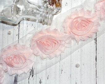 "1 Yard Chiffon Shabby Rose Trim Peachy Pink 2.5"""