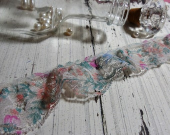 """1 Yard Multi Color Floral Ruffled Lace 1 1/2"""""""