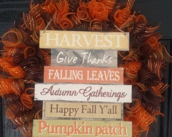Deco Mesh fall wreath happy thanksgiving fall harvest give thanks door wreath