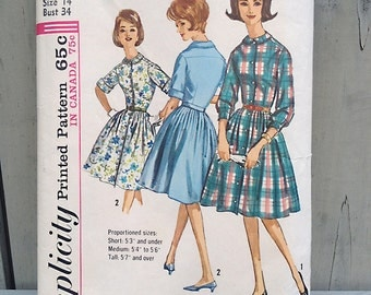 Vintage pattern | 1960s dress sewing pattern full skirt shirtwaist Simplicity 5232