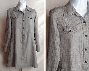 Vintage dress | Mod A-line shift mini dress gray pinstripes with pockets