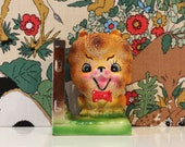 Vintage Lion Bookend Kitsch Spotty Bow Tie Kawaii