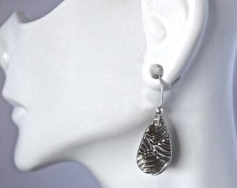 Falling Rain Drop Silver Earrings