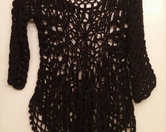 90s Black Grunge Goth Crochet Sweater