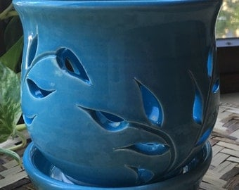 Small Handmade Orchid Pot in Turquoise Blue Porcelain