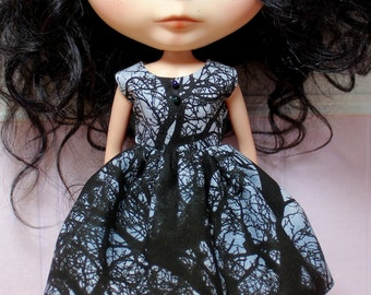 BLYTHE doll Halloween party dress - dark trees
