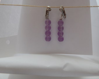 Clear Purple Clip-On Earrings