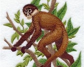 Black-Handed Spider Monkey Embroidered Decorative Absorbent White Cotton Flour Sack Towel, Linen Tea Towel, Waffle Towel