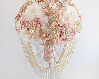 Wedding Bouquet, Brooch Bouquet, Bridal Bouquet, Gold Wedding Dress Blush Pink Bouquet, Rose Gold Bouquet, Wedding Jewelry Bouquet
