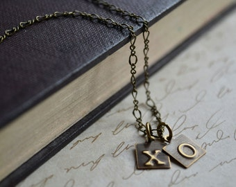 X O Necklace, Hugs and Kisses, Brass Pendant Necklace, Word Necklace, Embossed Metal Jewelry, Love Necklace, Valentines Day Gift