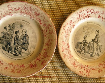 Enfants Terribles Plates, Set of 2, Vintage