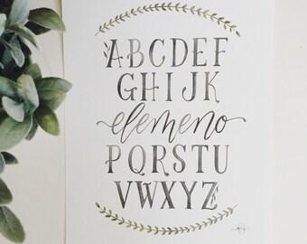 Abc's - alphabet art- watercolor art print