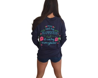 Monograms are Happiness Super Soft Long Sleeve Pocket T-Shirt-Navy