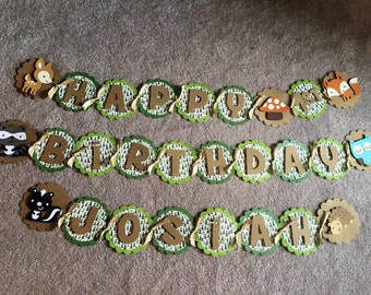 Woodland animal birthday banner