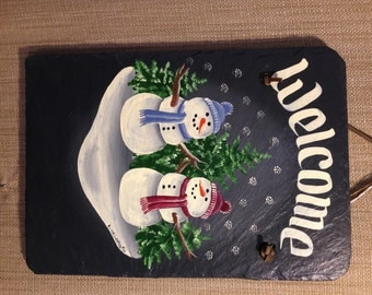 Handpainted Personalized Snowmen Snowfamily Slate Welcome Sign