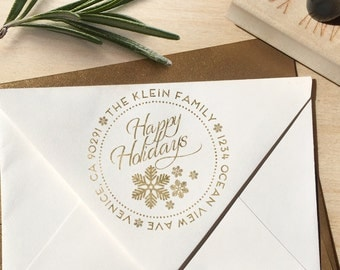 Happy Holidays Return Address Stamp with Snowflakes in a circular design