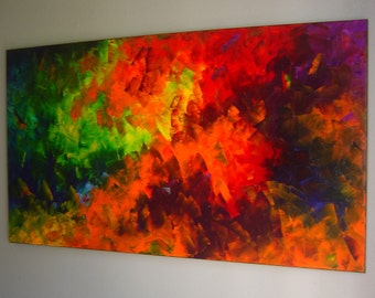 Original Abstract Modern Oil Painting on Canvas 48x24 palette knife technique Contemporary Wall Art Bright Decor by artist Eugenia Abramson