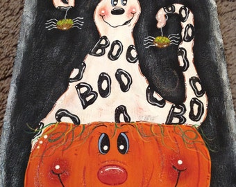 Ghost Pumpkin Spider Friends Halloween Welcome sign hand painted slate