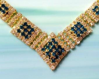 Rhinestone Necklace Vintage Gold
