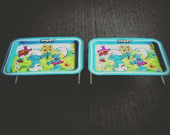 1980's Vintage Smurf Folding Trays Peyo Wallace Berrie Co.