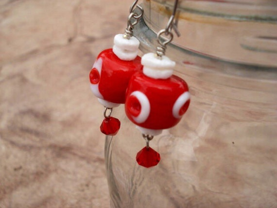 Modern Red White Glass Earrings, Lampwork Earrings, Beaded Earrings, Dangle Drop Earrings, Hook Earrings, OOAK, One Of A Kind, Boho Earrings