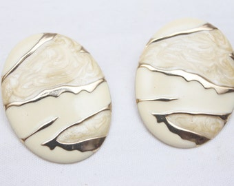 "80's Vintage ""CYCLONE"" Large Fancy Clip-On Earrings"