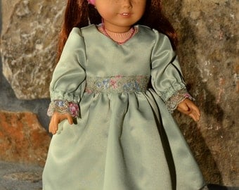American Girl sytle gorgeous dress in sage green and pink with matching shoes, headband, and necklace