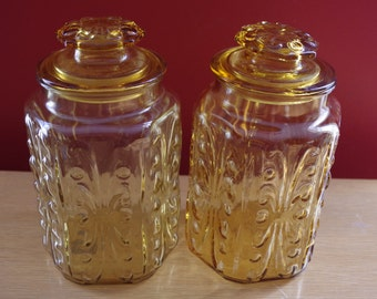 Vintage 1970s Pair of Amber Gold Glass Canister Storage Jars