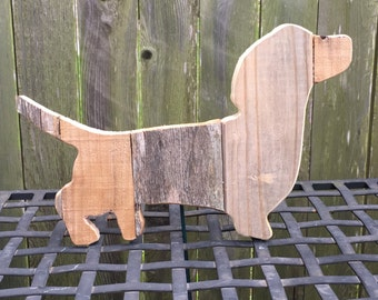 Dachshund silhouette made from different types of reclaimed wood