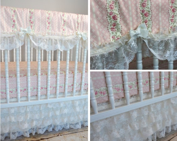 Ivory Shabby Chic Bedding: Rebecca's Shabby Chic Girl Crib Bedding In Ivory Lace And