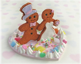 Quirky Wedding Cake Topper - Gingerbread Man and Woman Bride and Groom Alternative Polymer Clay Sweets Kitsch Food Decor