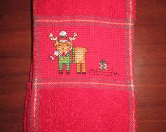 Reindeer Fingertip Christmas Towel