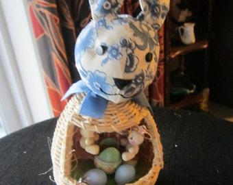 Blue Delft Bunny Basket