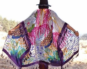Silk Burnout  Velvet Fringe Beads Hippie Boho Gypsy Festival Kimono Jacket Peacock